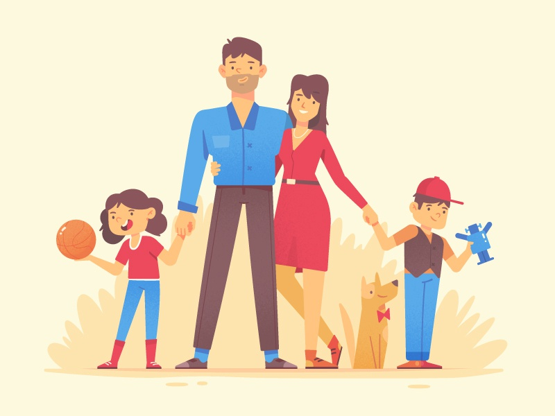 Happy Family fireart fireart studio dog kid family man woman character design 2d illustration