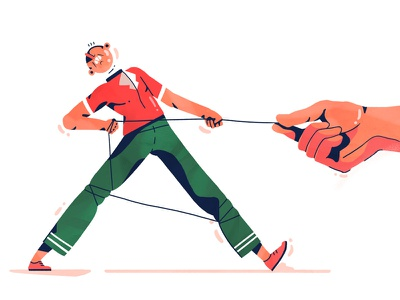 Pulling the strings flat struggle hand man character 2d illustration