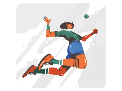 Volleyball volleyball sport force struggle hand character flat 2d illustration