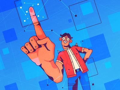 Digital Fingerprint privacy fingerprint internet hand man character 2d illustration
