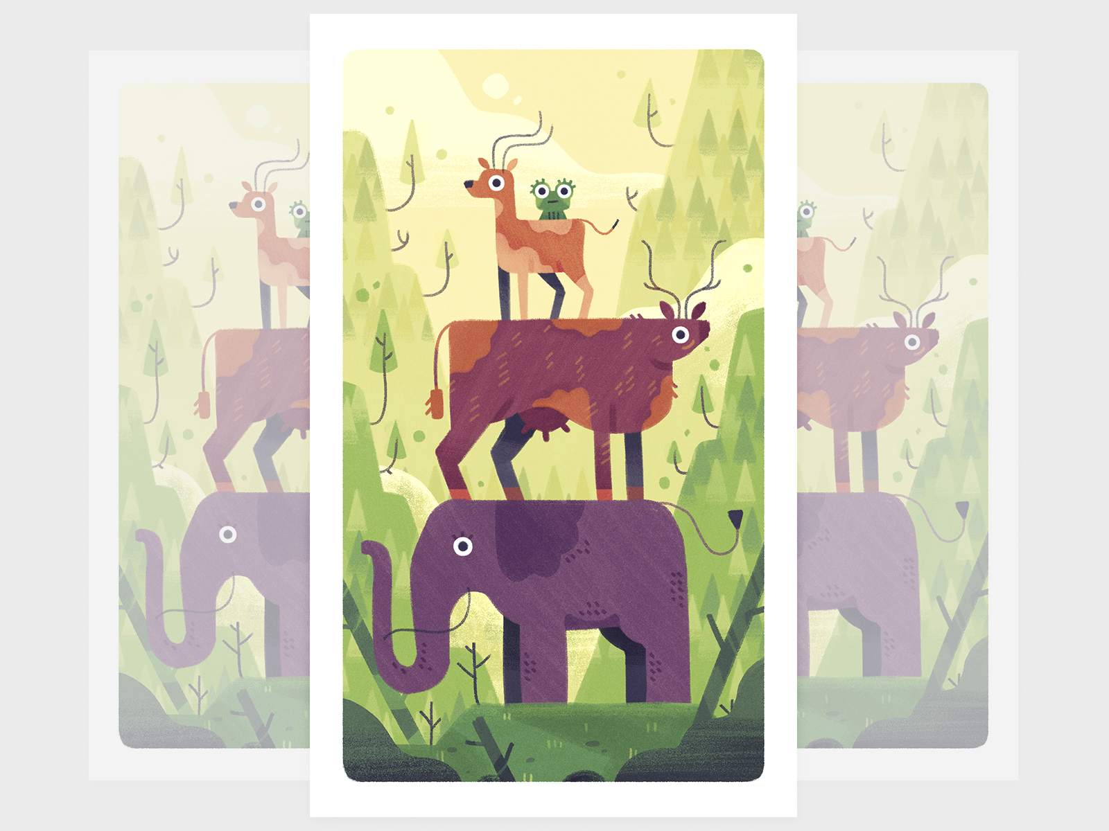 Animal tower mountains animal elephant cow frog deer fireart studio character design 2d illustration