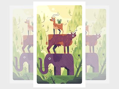 Animal tower mountains animal elephant cow frog deer fireart studio character design 2d illustration