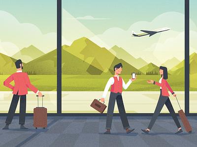 Let's go plane airport mountains landscape character flat fireart studio illustration
