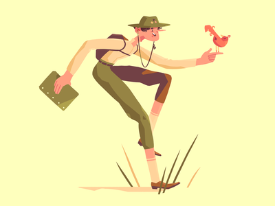 Ornithologist exploration scientist bird illustration character fireart studio character design 2d illustration