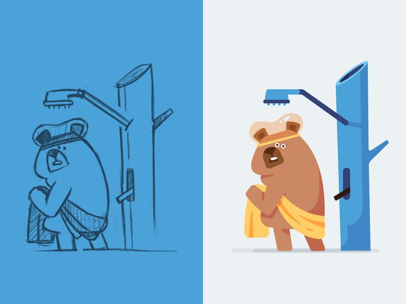 Bear forest towel bath water tree shower bear flat character fireart fireart studio character design 2d illustration