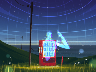 Vending Machine eiji ohashi button hologram ghost spirit vending machine night stars sky space skyline landscape man illustration flat character fireart studio character design 2d illustration 2d