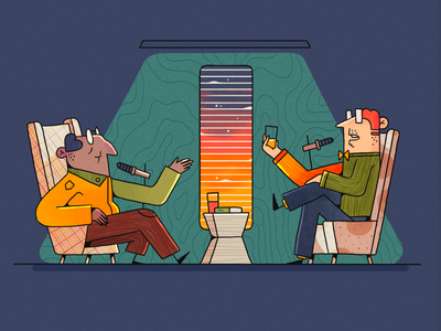 Podcast sky window armchair drink space scientist science dialogue talk podcast flat character 2d illustration character design