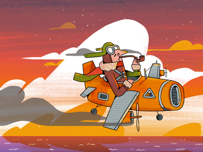 Aviator smoke flying googles art ocean clouds crash landing plane aviators pilot interactive skyline landscape man illustration character character design 2d illustration
