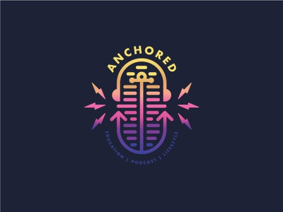 Anchored Podcast Logo microphone headphones podcast design identity branding lightning colorful badge illustration anchor icon vector