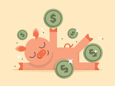 Piggy Bank green pink banking piggy piggybank bank money animal pig character design character illustration