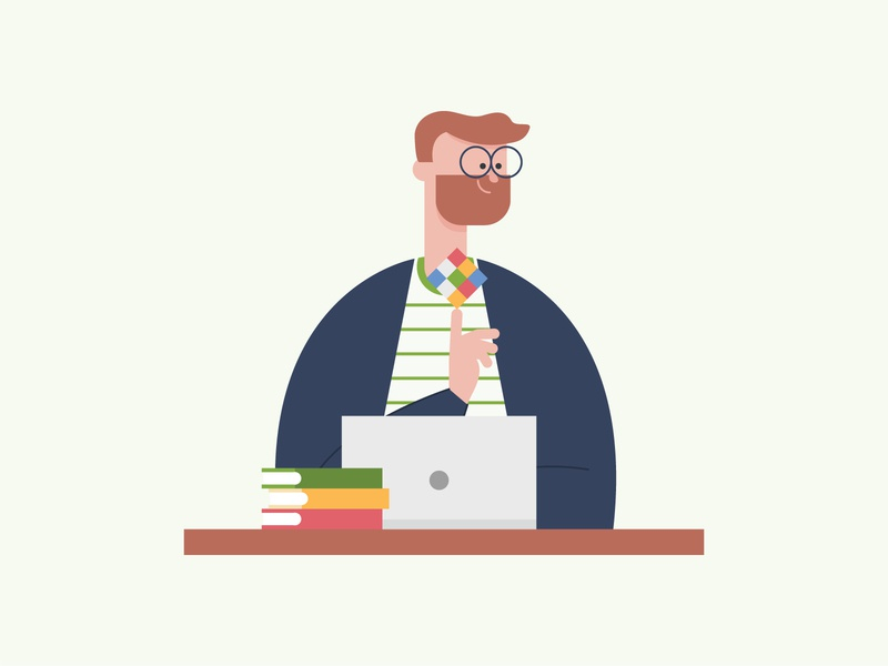 Character Development 1 rubiks cube design cartoon branding office desk techy people character design character vector illustration
