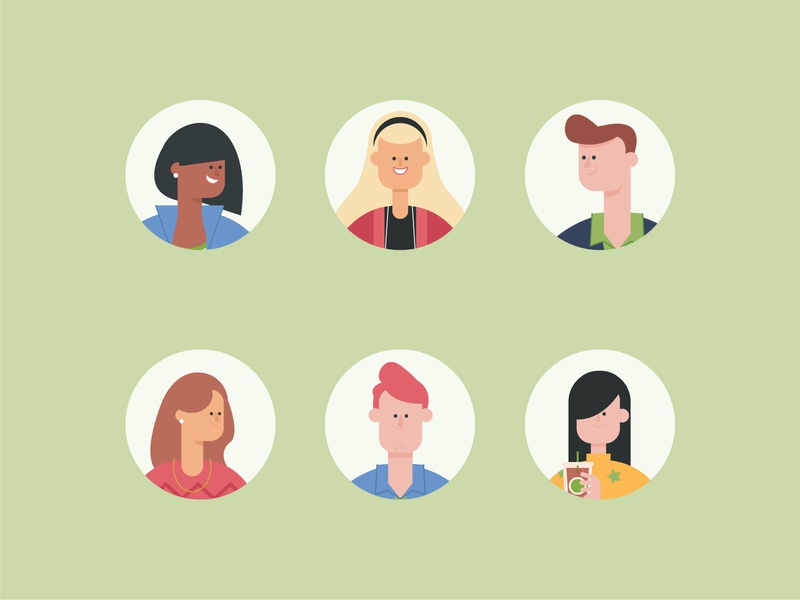 Characters Development 4 people graphic design green identity cartoon branding design character design vector character illustration