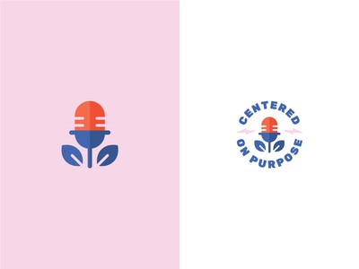 Unused Logo Concept 2 plant logo speaker lightning podcast pink graphic design identity branding design icon red blue vector