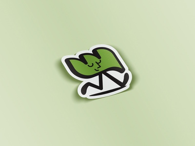 WH Character Sticker Mockup sticker leaf design graphic design branding identity vector cartoon logo green icon illustration character design character