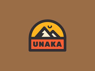 Unaka Submark illustration design branding wilderness yellow red vector outdoors logo mountain