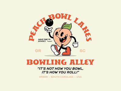 Peach Bowl Lanes graphic design design branding fun badge t-shirt design tshirt cartoon retro character design character south carolina fruit bowling ball bowling peach illustration vector