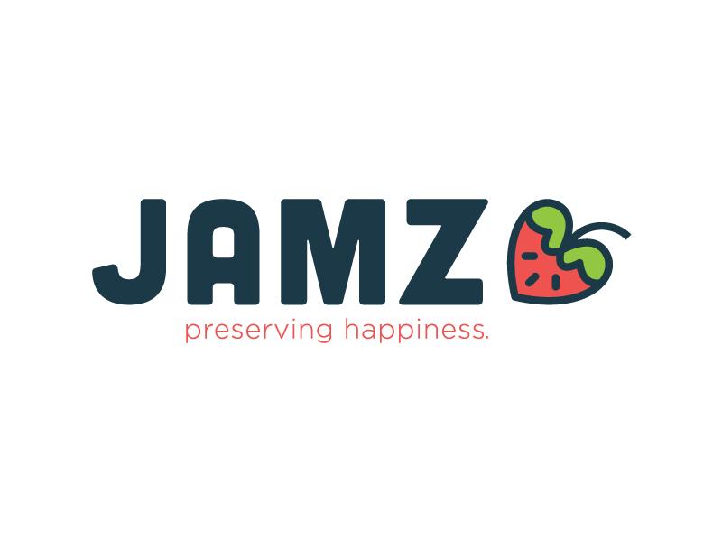 Jamz Logo happy green red identity branding strawberry logo jelly jam jamz