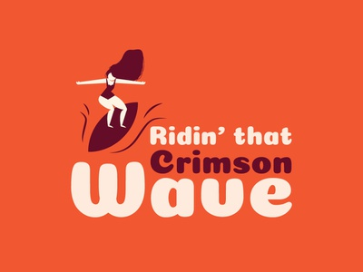 Crimson Wave periods surfer girl purple pink vector girl surfing surf period red