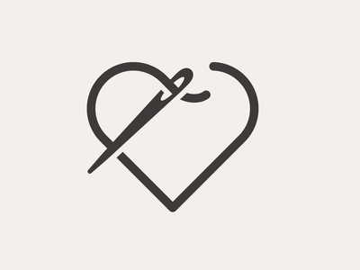 Needle And Heart Thread Logo Concepts branding vector notions thread sewing logo icon heart needle sew