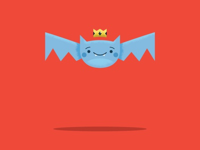 Day 3 Bat crown bat halloween graphic design yellow cartoon character design red character blue vector illustration