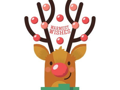 WIP - Xmas Greeting Card design cartoon rudolph character design character illustration vector pink red deer christmas holiday reindeer