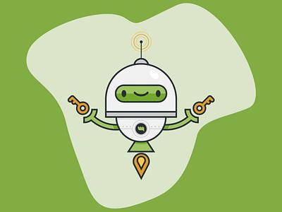 WH Robot key mascot design characterdesign character yellow green illustraion vector robot