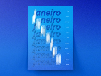 January typography print poster blue design janeiro january concept composition art