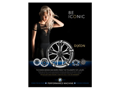 BE ICONIC - Dixon harley-davidson wheels custom sexy icon print ad motorcycle parts fashion luxury