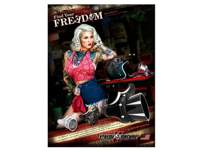 Find Your Freedom - Velocity Stack Air Cleaner custom harley-davidson motorcycle parts print ad velocity stack sexy americana bold freedom harley tattoo
