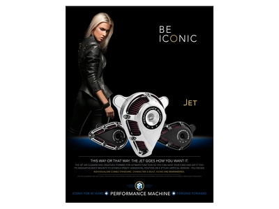 Be ICONIC - JET Air Cleaner custom harley-davidson motorcycle parts print ad icon luxury fashion sexy girl