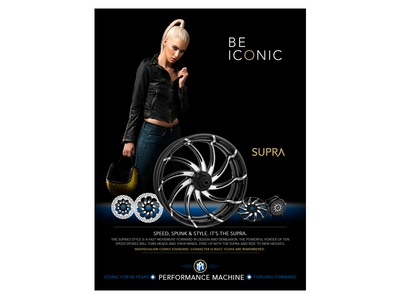 BE ICONIC - Supra luxury fashion parts motorcycle print ad icon sexy custom wheels harley-davidson