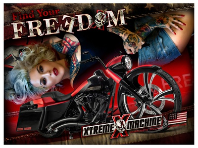 XTREME MACHINE - Find Your FREEDOM - Poster tattoo harley freedom bold americana sexy poster parts motorcycle harley-davidson custom