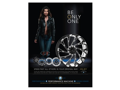Performance Machine - Del Rey Wheel - Print Ad harley-davidson model wheel custom motorcycles branding advertising print ad