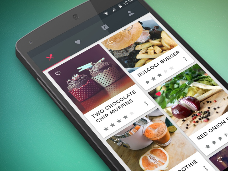 Food & Cooking App nexus user interface design ui android food cooking concept cards material