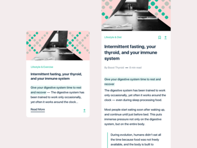 Health app companion - In-app articles cards + overlay