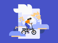 Bike Illustration ui drive biking city woman illustration vector mobility ride urban android ios onboarding bike flat illustration alegra