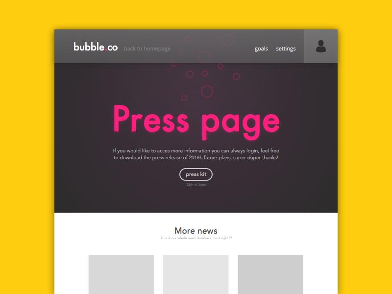 Press Page frontage pink bubble press page sketch