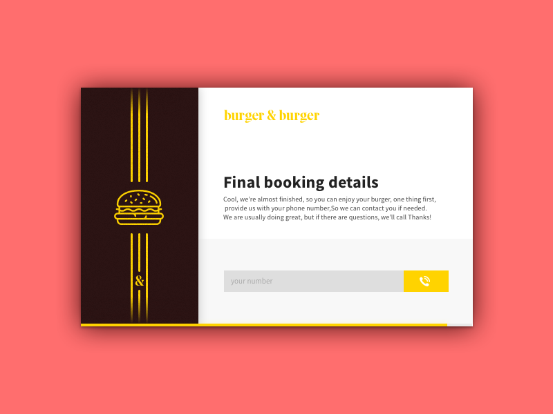Reservation confirmation card modal popup confirmation booking burger