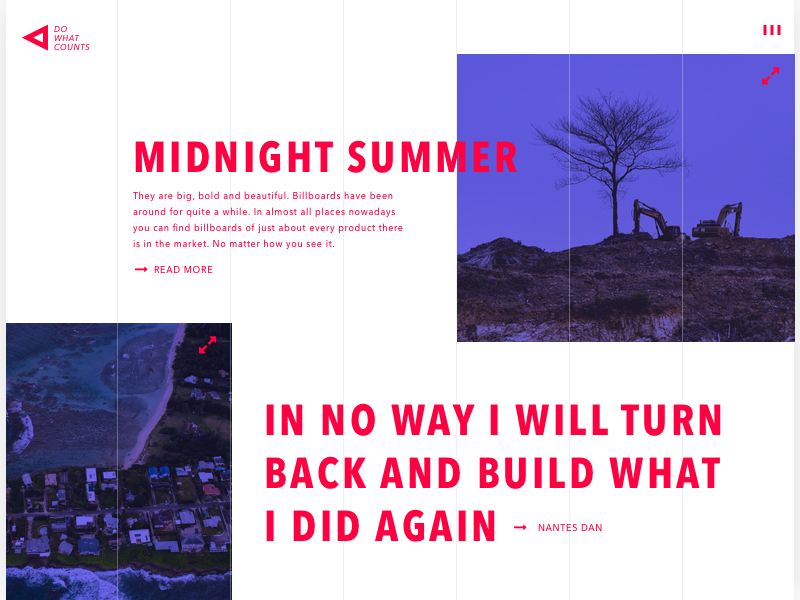 day 65 - grid page interface grid frontpage enlarge hamburger menu logo javascript homepage contrast