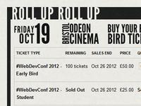 #WebDevConf 2012 Ticket Block Close-Up