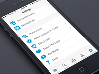 HootSuite Settings view for iOS7