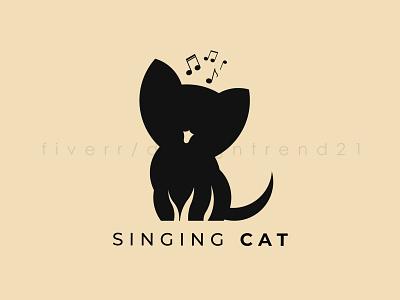 Singing Cat Logo Design graphic design art vector flat minimal illustration branding design logo