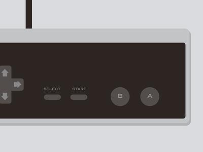 Flattened NES controller sorryduckhunt flat design nes nintendo flat buttons labels console gray retro illustration