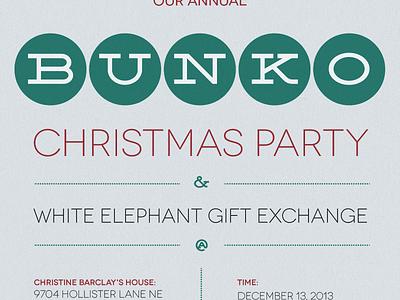 Bunko Christmas Invite invitation christmas retro vintage bunko deming invite