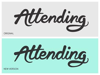 Attending (Rebound) lettering logo attending rebound script