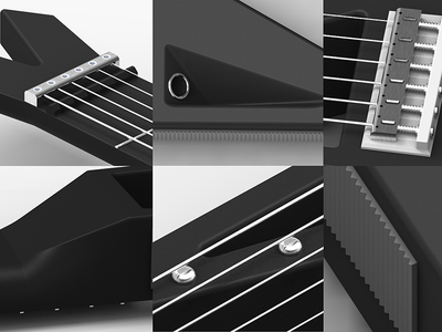 Shifter Guitar Details 3d rendering guitar