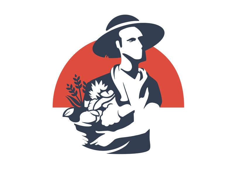 Farmer empty space plants farmer japan farming whitespace farm logo illustration