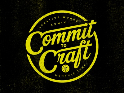 Commit To Craft commit badge creative works logo script lettering vintage retro cursive seal stamp emblem