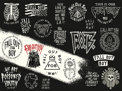 Fall Out Collection merch punk music lettering hand hand-drawn logotype logo apparel tee graphic fall out boy