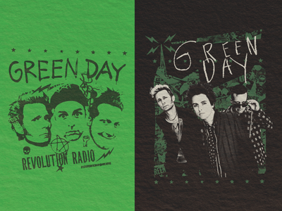 Green Day Revolution collage mess photo punk merch band day green